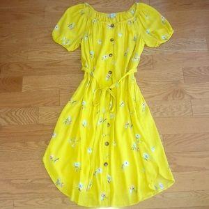 Beautiful Yellow Midi Dress w POCKETS